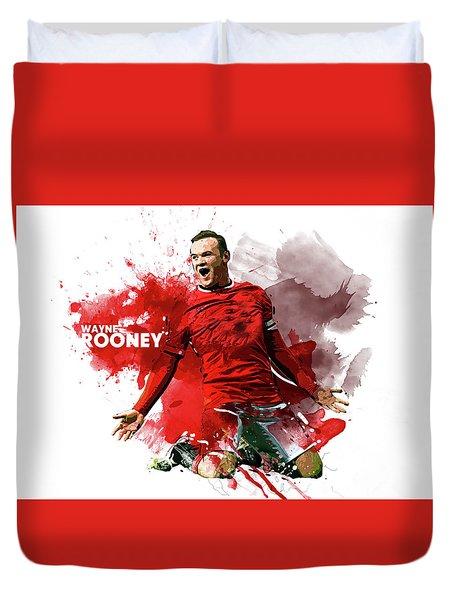 Wayne Rooney Duvet Cover by Semih Yurdabak