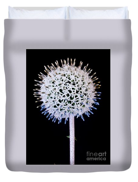 White Alium Onion Flower Duvet Cover