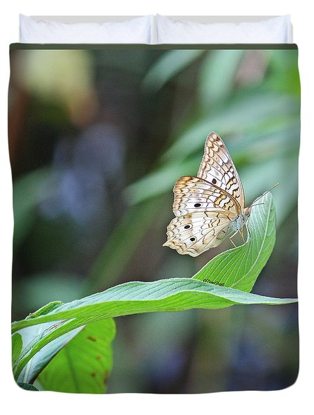 Duvet Cover featuring the photograph White Peacock Butterfly by Terri Mills