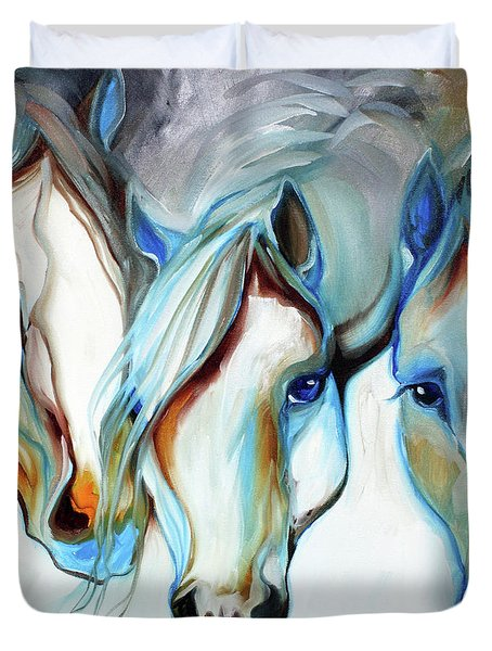 3 Wild Horses In Abstract Duvet Cover
