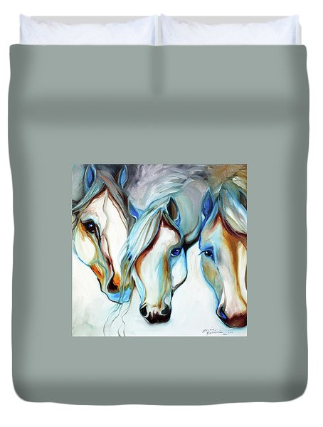 3 Wild Horses In Abstract Duvet Cover by Marcia Baldwin