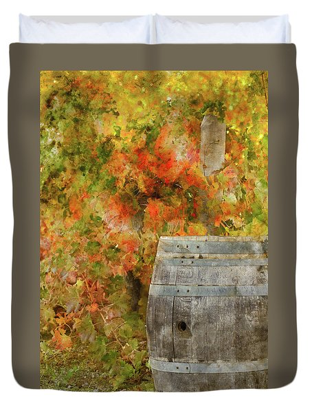 Wine Barrel In Autumn Duvet Cover