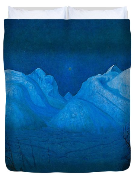 Winter Night In The Mountains Duvet Cover