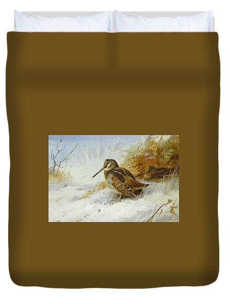 Winter Woodcock Duvet Cover by Archibald Thorburn
