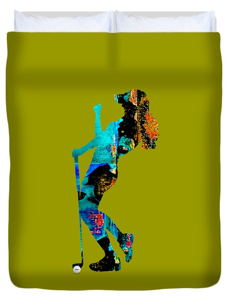 Womens Golf Collection Duvet Cover by Marvin Blaine