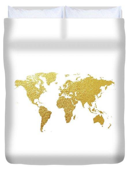 World Map Gold Foil Duvet Cover by Michael Tompsett