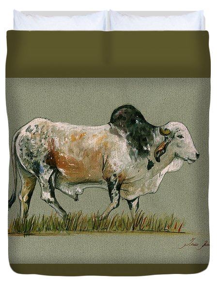 Zebu Cattle Art Painting Duvet Cover by Juan  Bosco