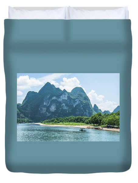 Duvet Cover featuring the photograph Lijiang River And Karst Mountains Scenery by Carl Ning