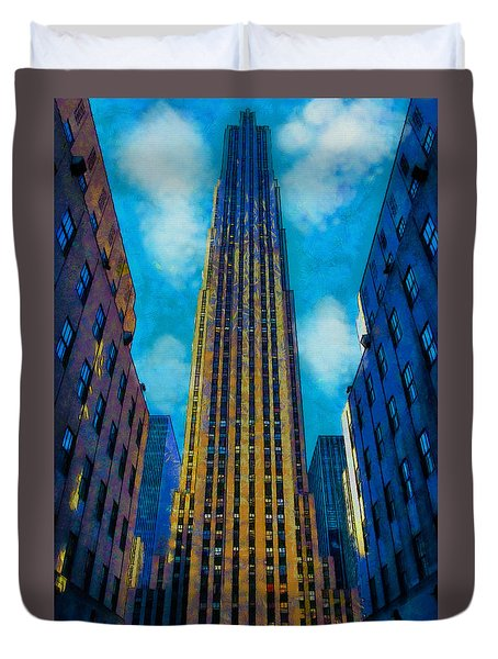 Duvet Cover featuring the painting 30 Rock by Kai Saarto