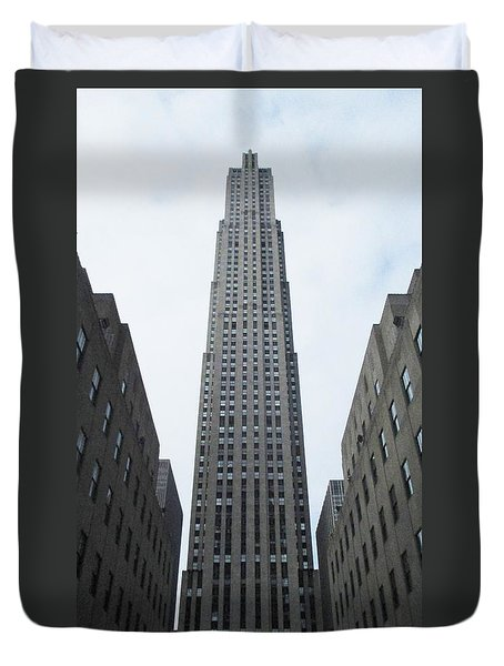 Duvet Cover featuring the photograph 30 Rockefeller Center by Christopher Kirby