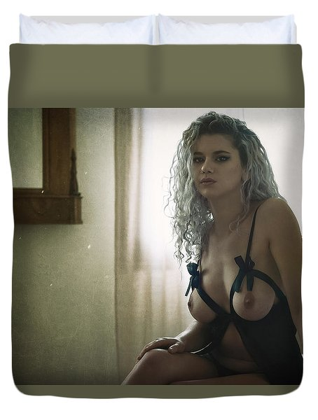 Duvet Cover featuring the photograph Tu M'as Promis by Traven Milovich