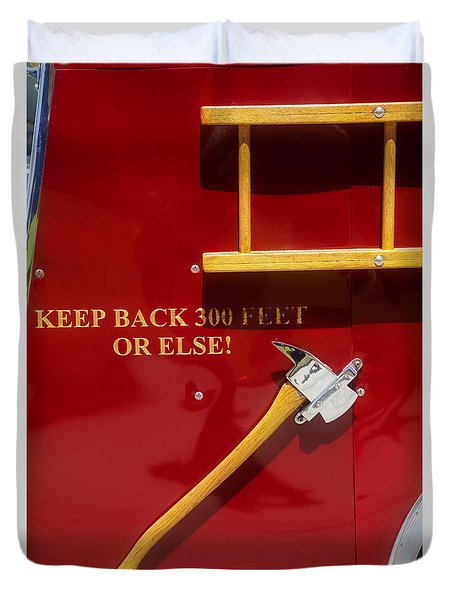 Duvet Cover featuring the photograph Fire Truck Caution by Toni Hopper