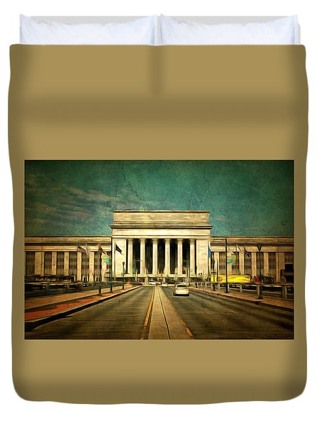 Duvet Cover featuring the mixed media 30th Street Station Traffic by Trish Tritz