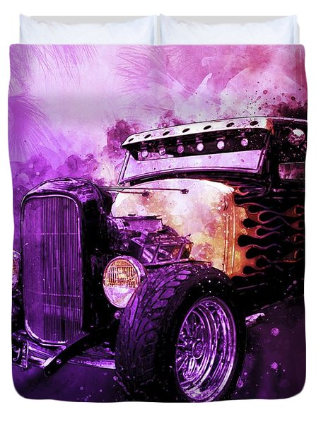31 Ford Model A Fiery Hot Rod Classic Duvet Cover