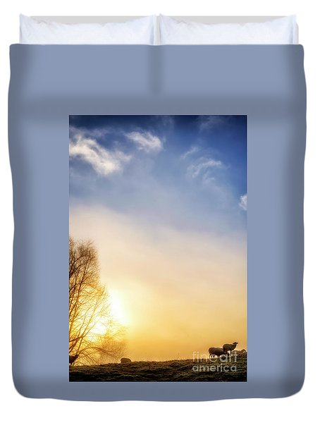 Duvet Cover featuring the photograph Misty Mountain Sunrise by Thomas R Fletcher