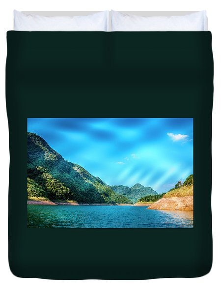 The Mountains And Reservoir Scenery With Blue Sky Duvet Cover
