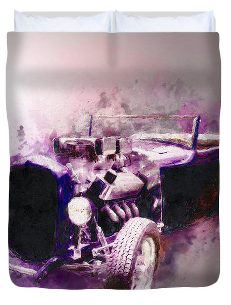 32 Ford Low Boy Roadster Watercoloured Sketch Duvet Cover