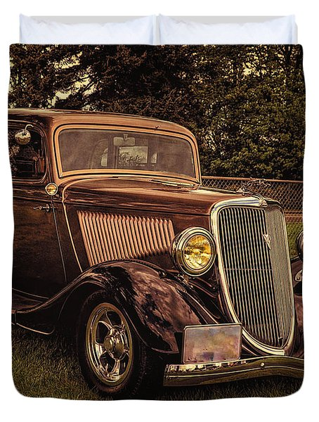 Duvet Cover featuring the photograph Cool 34 Ford Four Door Sedan by Thom Zehrfeld