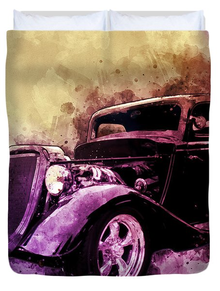 34 Ford Three Window Coupe Pen And Ink Watercolour Duvet Cover