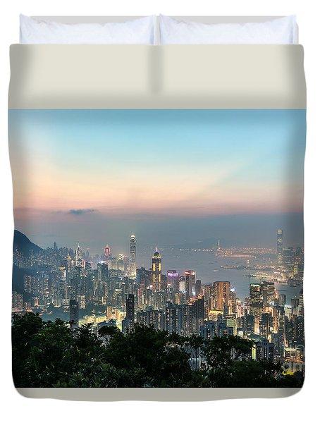 Hong Kong Skyline Duvet Cover