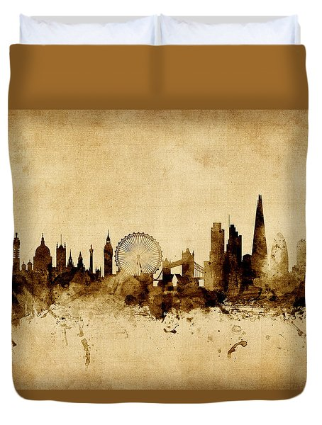 London England Skyline Duvet Cover by Michael Tompsett