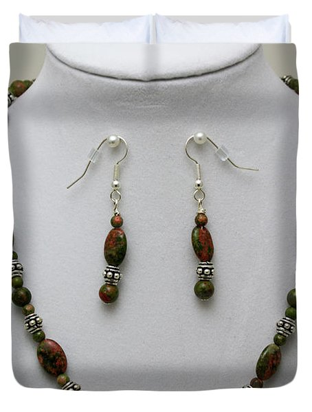 3525 Unakite Necklace And Earring Set Duvet Cover by Teresa Mucha