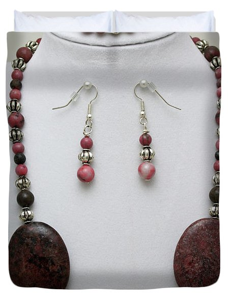 3544 Rhodonite Necklace Bracelet And Earring Set Duvet Cover by Teresa Mucha