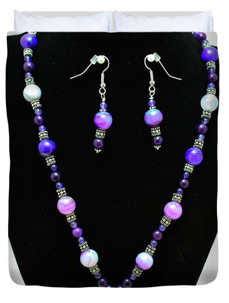 3547 Purple Veined Agate Set Duvet Cover by Teresa Mucha
