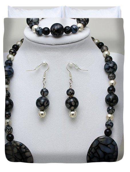 3548 Cracked Agate Necklace Bracelet And Earrings Set Duvet Cover by Teresa Mucha