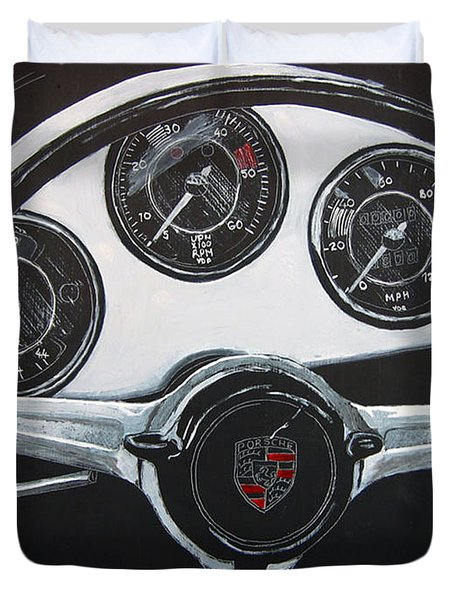Duvet Cover featuring the painting 356 Porsche Dash by Richard Le Page