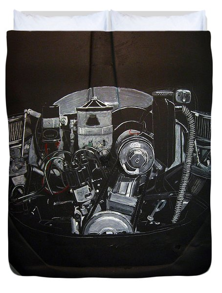 Duvet Cover featuring the painting 356 Porsche Engine On A Vw Cover by Richard Le Page