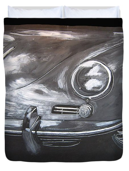 Duvet Cover featuring the painting 356 Porsche Front by Richard Le Page