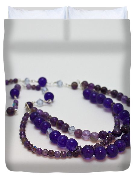 3580 Amethyst And Adventurine Necklace Duvet Cover by Teresa Mucha
