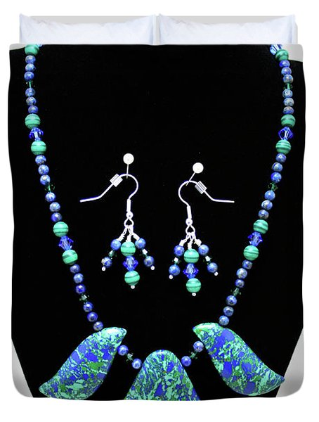 3582 Lapis Lazuli Malachite Necklace And Earring Set Duvet Cover by Teresa Mucha