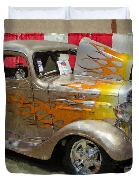 36 Chevy Pickup With Flames Duvet Cover