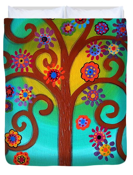 Tree Of Life Duvet Cover by Pristine Cartera Turkus