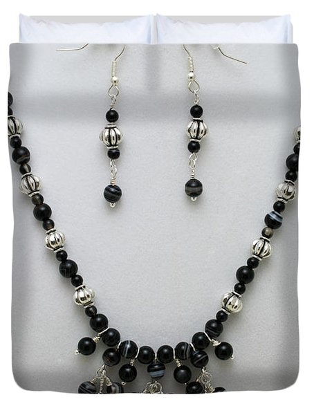 3601 Black Banded Onyx Necklace And Earrings Duvet Cover by Teresa Mucha