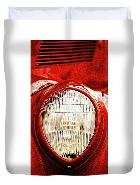 Duvet Cover featuring the mixed media 37 Ford Oil Photo by Onyonet  Photo Studios