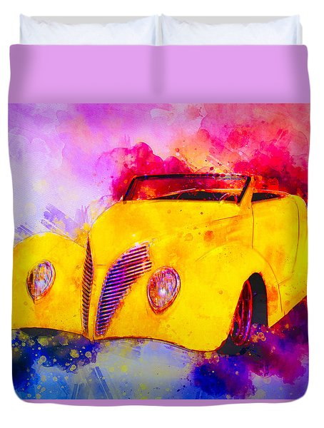 37 Ford Roadster Yellow Watercolour Duvet Cover