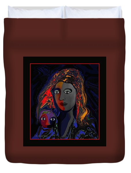 Duvet Cover featuring the digital art 381- Child Keep Your Mouth Shut 2017 by Irmgard Schoendorf Welch