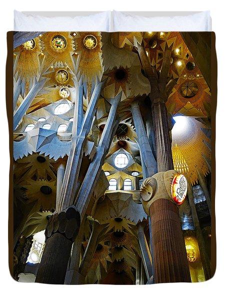 Artistic Achitecture Within The Sagrada Familia In Barcelona Duvet Cover by Richard Rosenshein