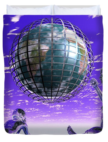 3d Aliens With Caged Earth Duvet Cover by Nicholas Burningham