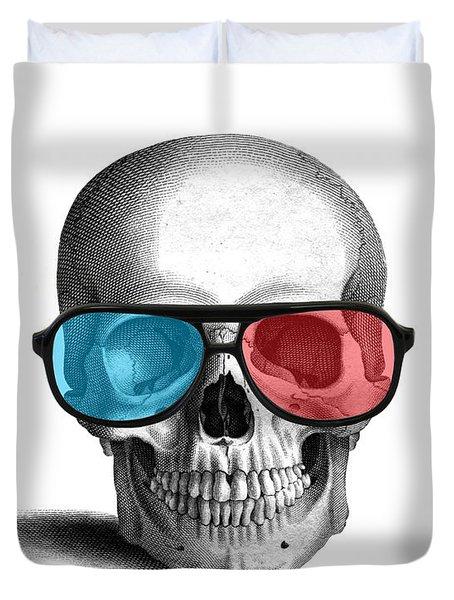 skull with 3D glasses Duvet Cover