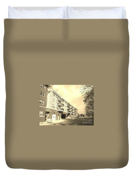 3rd Street Columbus Indiana - Sepia Duvet Cover
