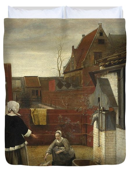 A Woman And Her Maid In A Courtyard Duvet Cover