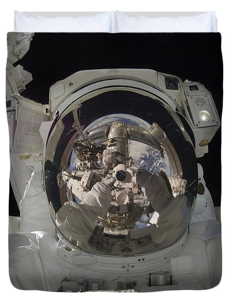 Astronaut Uses A Digital Still Camera Duvet Cover by Stocktrek Images