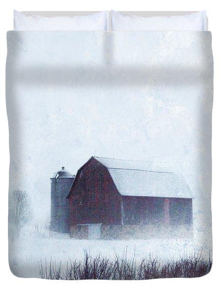 Barn In Winter Duvet Cover by Jill Battaglia
