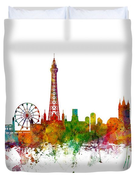 Blackpool England Skyline Duvet Cover