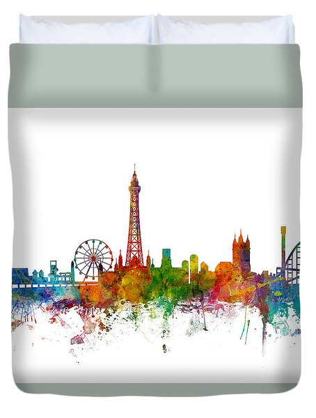 Blackpool England Skyline Duvet Cover