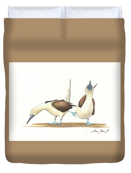 Blue Footed Boobies Duvet Cover by Juan Bosco